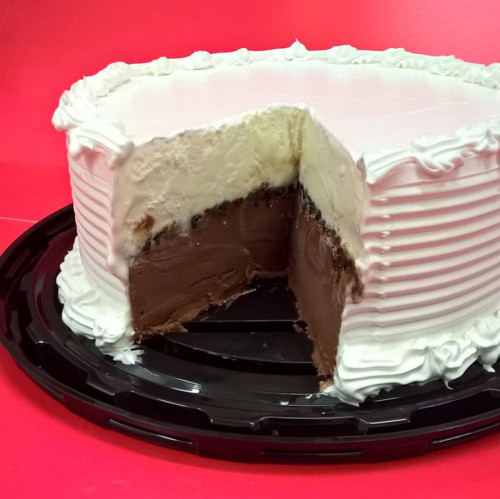 Cut Away of ice cream cake showing flurry layers